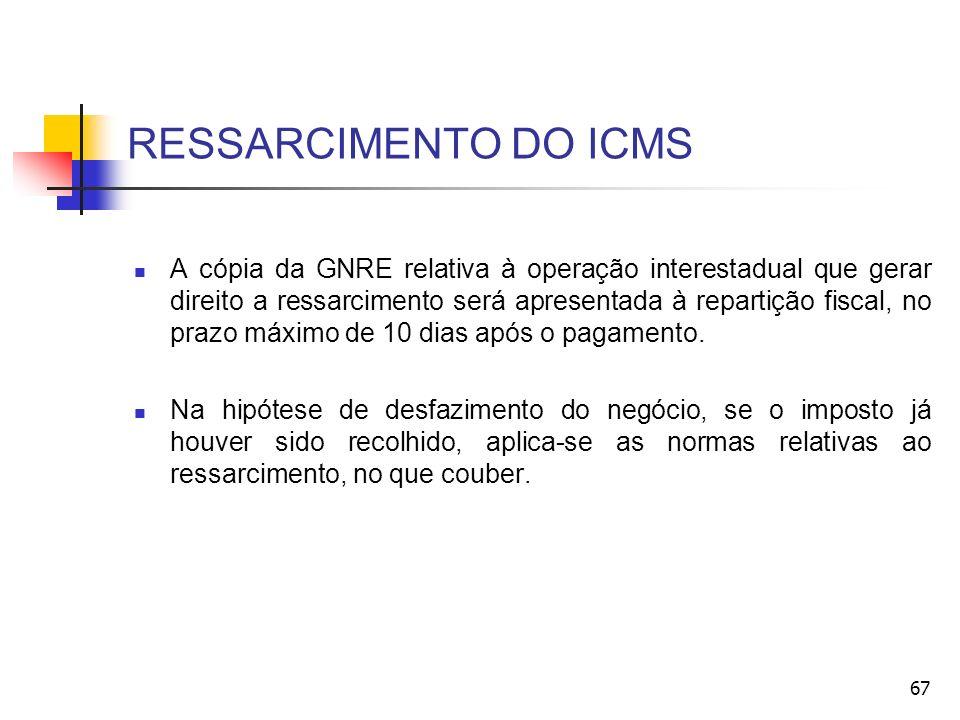 RESSARCIMENTO DO ICMS A cópia da GNRE relativa à operação interestadual que gerar direito a ressarcimento será apresentada à repartição fiscal, no pra