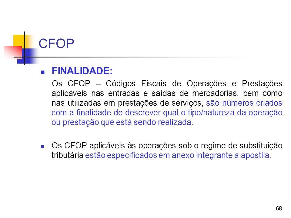 CFOP 68 FINALIDADE: Os CFOP – Códigos Fiscais de Operações e Prestações aplicáveis nas entradas e saídas de mercadorias, bem como nas utilizadas em prestações de serviços, são números criados com a finalidade de descrever qual o tipo/natureza da operação ou prestação que está sendo realizada.