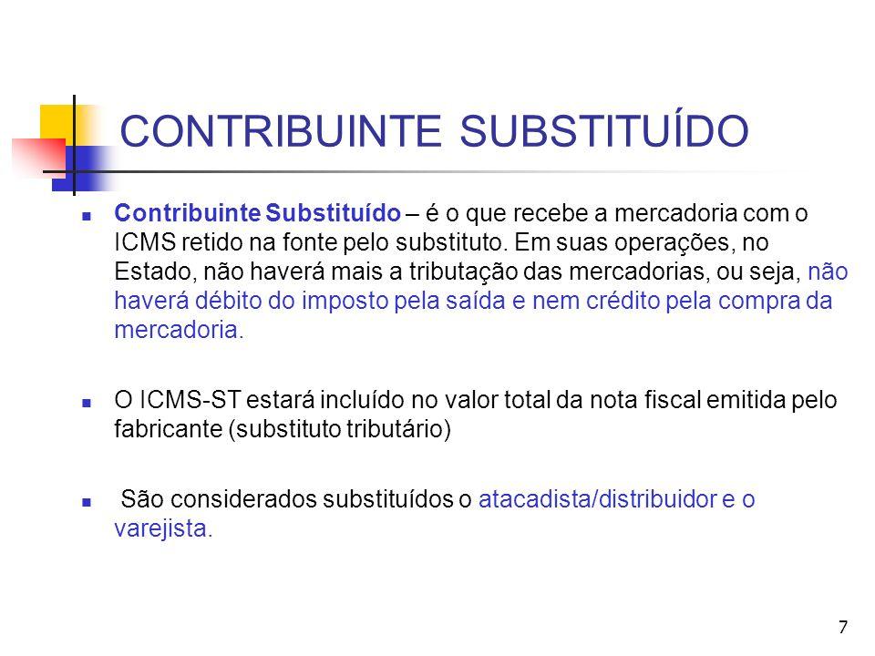 CONTRIBUINTE SUBSTITUÍDO Contribuinte Substituído – é o que recebe a mercadoria com o ICMS retido na fonte pelo substituto. Em suas operações, no Esta