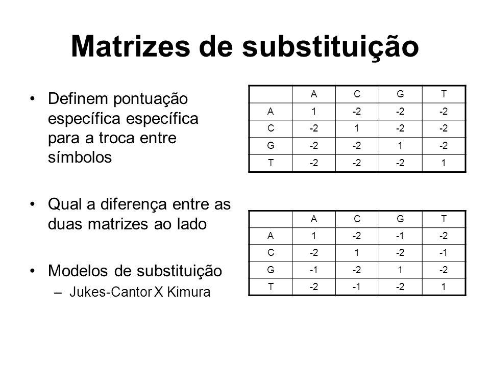 Matrizes de substituição Definem pontuação específica específica para a troca entre símbolos Qual a diferença entre as duas matrizes ao lado Modelos d