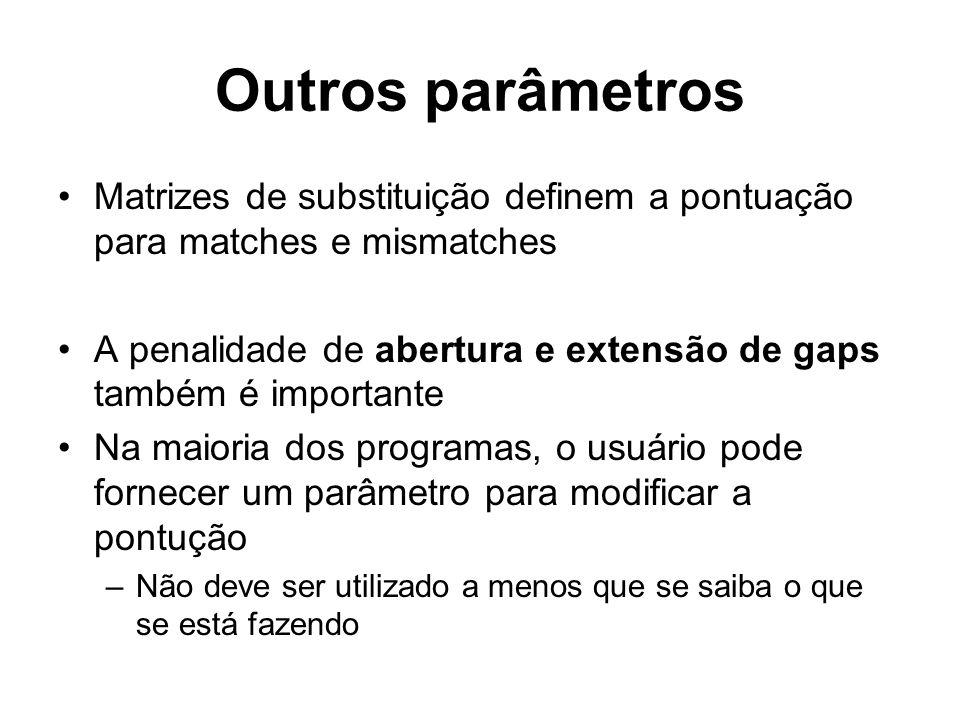 Outros parâmetros Matrizes de substituição definem a pontuação para matches e mismatches A penalidade de abertura e extensão de gaps também é importan