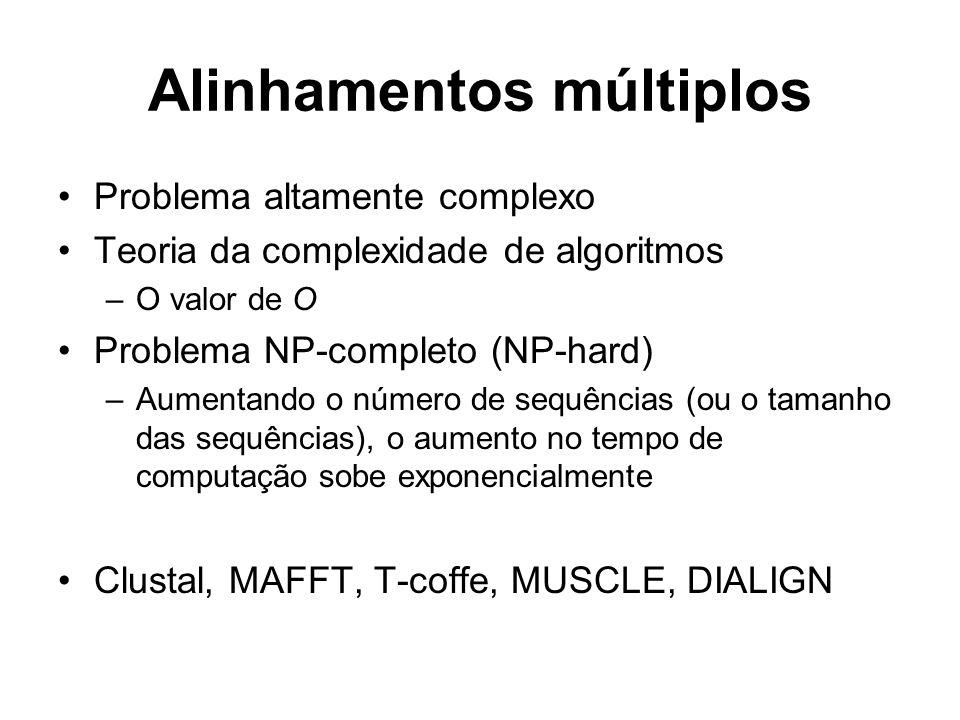 Alinhamentos múltiplos Problema altamente complexo Teoria da complexidade de algoritmos –O valor de O Problema NP-completo (NP-hard) –Aumentando o núm