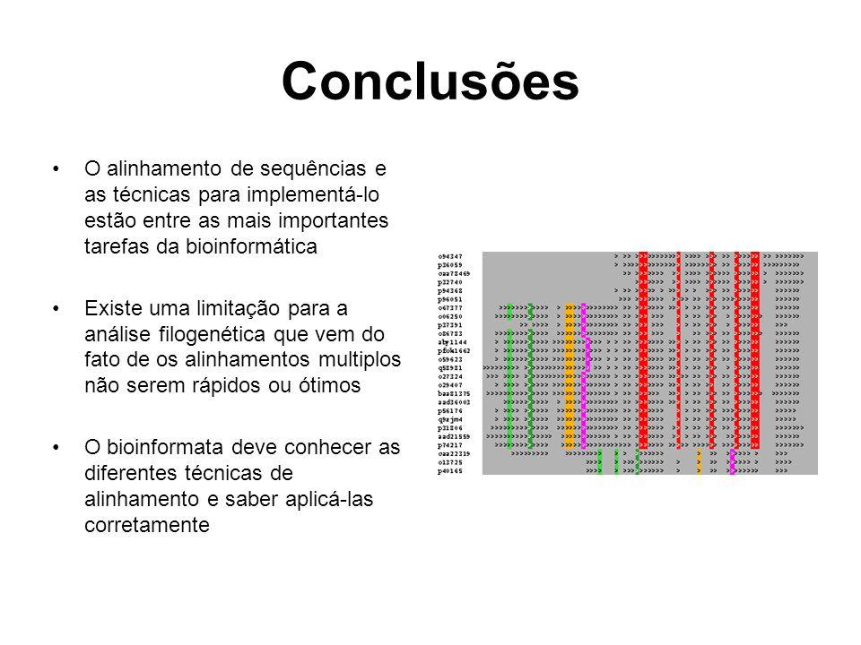 Conclusões O alinhamento de sequências e as técnicas para implementá-lo estão entre as mais importantes tarefas da bioinformática Existe uma limitação