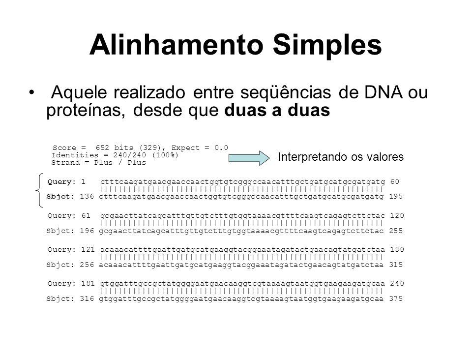 Alinhamento múltiplo Aquele realizado entre MAIS DE DUAS seqüências de DNA ou proteínas Seq1 ------------------------------------------------------------ Seq4 -GCACGAGGACTGTGA-----ACCGAATCGGTTCAGTAAAATGTTCAATTGTGCGCTGGA Seq2 ------------------------------GTTCAGTAAAATGTTCAATTGTGCGCTGGA Seq3 GGCACGAGGGCTACGACTGTGAACGAATCGGTTCAGTAAAATGTTCAATTGTGCGCTGGA Seq1 ------------------------------------------------------------ Seq4 ATCTATTGTGTAGACTATTAACTATGGAATTTTACTTCACATTGACTAAAAAGCTGAGCA Seq2 ATCTATTGTGTAGACT-TTAACTATGGAATTTTACTTCACATTGACTAAAAAGCTGAGCA Seq3 ATCTATTGTGTAGACTATTAACTATGGAATTTTACTTCACATT-ACTAAAAAGCTGAGCA Seq1 ---------------------CTTTCAAGATGAACGAACCAACTGGTGTCGGGCCAACAT Seq4 AATATACCTGGAGCGTTCAGACTTTCAAGATGAACGAACCAACTGGTGTCGGGCCAACAT Seq2 AATATACCTGGAGCGTTCAGACTTTCAAGATGAACGAACCAACTGGTGTCGGGCCAACAT Seq3 AATATACCTGGAGCGTTCAGACTTTCAAGATGAACGAACCAACTGGTGTCGGGCCAACAT ***************************************