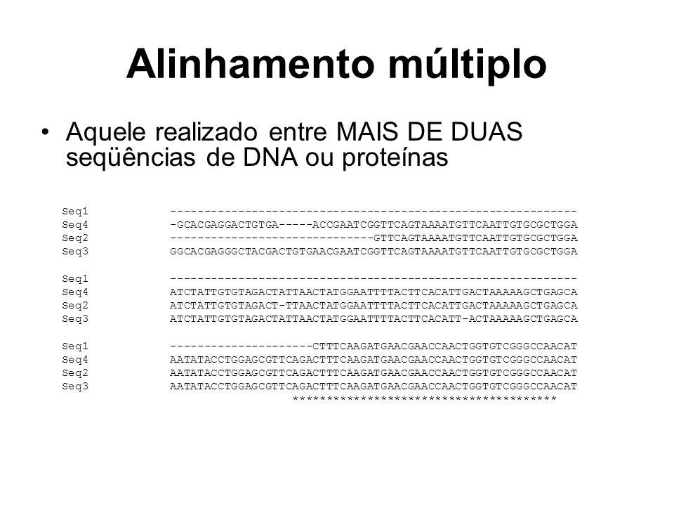 Alinhamento múltiplo Aquele realizado entre MAIS DE DUAS seqüências de DNA ou proteínas Seq1 ---------------------------------------------------------
