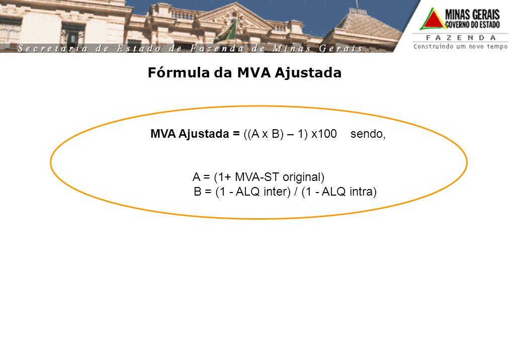 Fórmula da MVA Ajustada MVA Ajustada = ((A x B) – 1) x100 sendo, A = (1+ MVA-ST original) B = (1 - ALQ inter) / (1 - ALQ intra)
