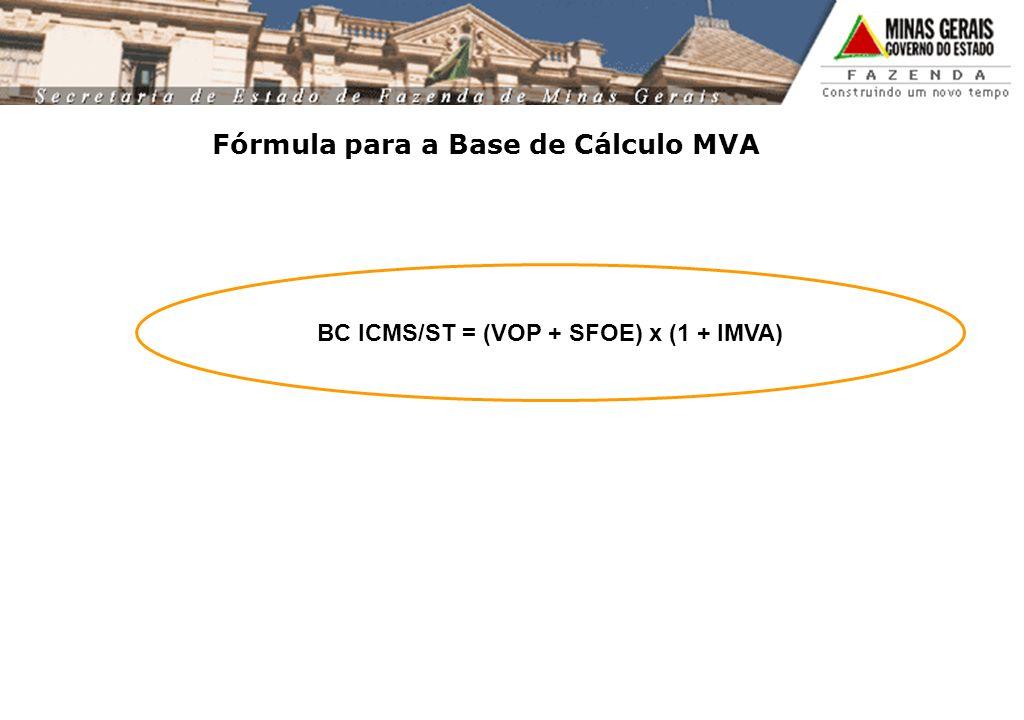 Fórmula para a Base de Cálculo MVA BC ICMS/ST = (VOP + SFOE) x (1 + IMVA)