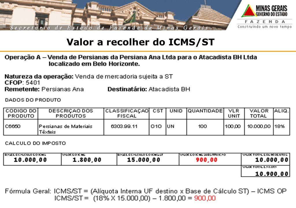 Valor a recolher do ICMS/ST ICMS/ST = (Alíquota interna UF de destino x base de cálculo ST) - ICMS OP