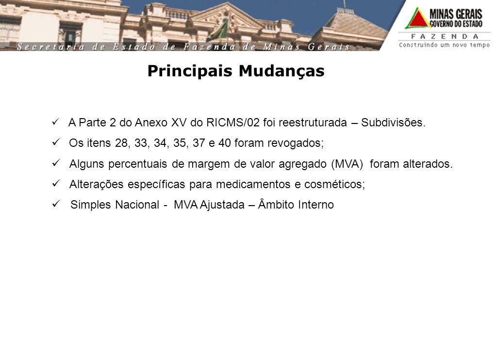 Principais Mudanças A Parte 2 do Anexo XV do RICMS/02 foi reestruturada – Subdivisões. Os itens 28, 33, 34, 35, 37 e 40 foram revogados; Alguns percen
