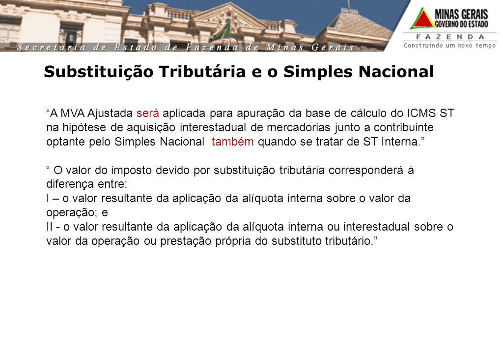 Substituição Tributária e o Simples Nacional A MVA Ajustada será aplicada para apuração da base de cálculo do ICMS ST na hipótese de aquisição interes