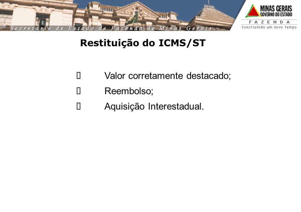 Restituição do ICMS/ST Valor corretamente destacado; Reembolso; Aquisição Interestadual.