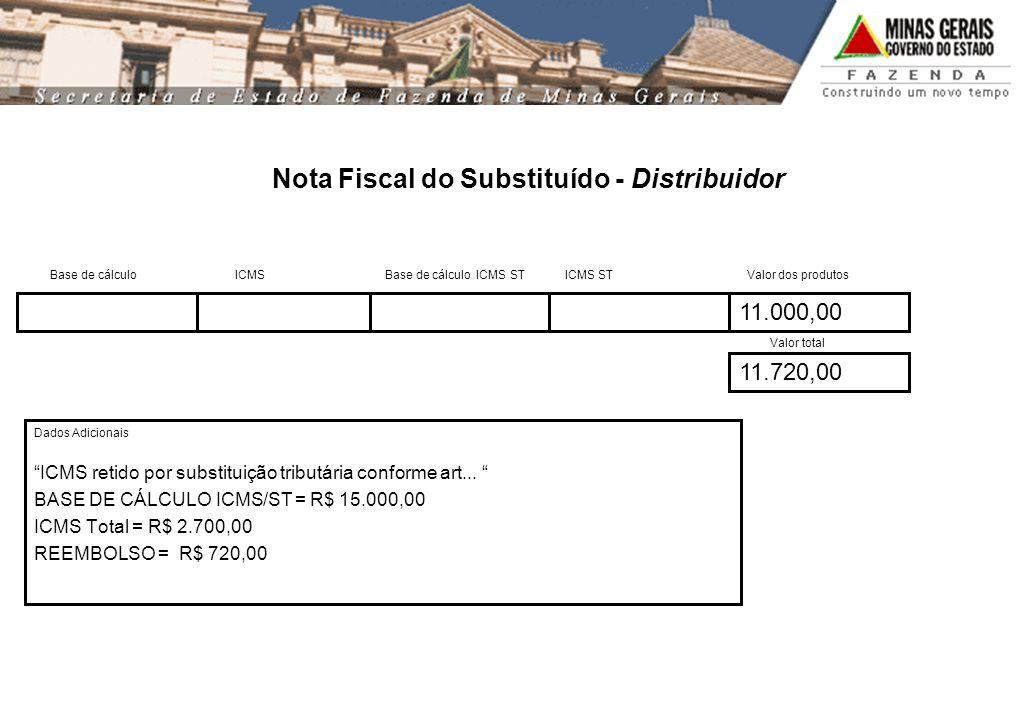 11.000,00 11.720,00 Nota Fiscal do Substituído - Distribuidor Base de cálculo ICMS Base de cálculo ICMS ST ICMS ST Valor dos produtos Valor total Dado