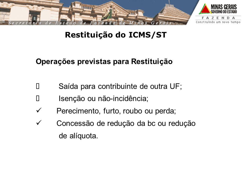 Restituição do ICMS/ST Operações previstas para Restituição Saída para contribuinte de outra UF; Isenção ou não-incidência; Perecimento, furto, roubo ou perda; Concessão de redução da bc ou redução de alíquota.