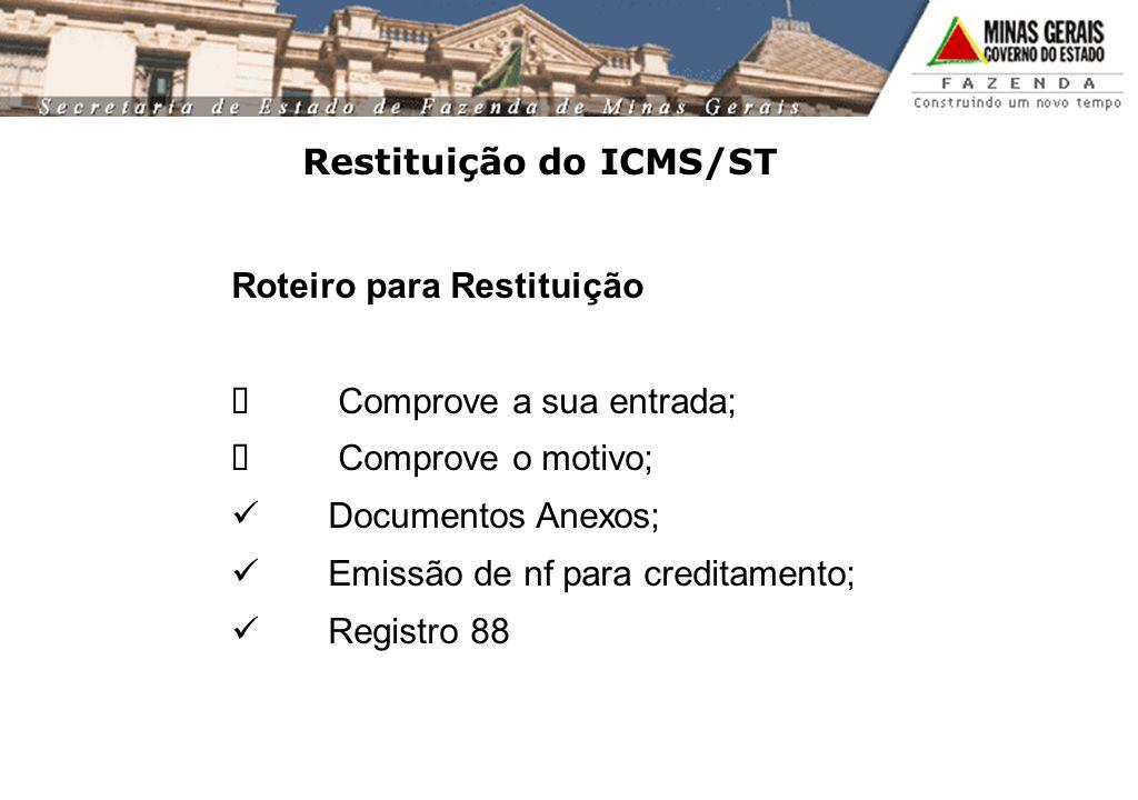 Restituição do ICMS/ST Roteiro para Restituição Comprove a sua entrada; Comprove o motivo; Documentos Anexos; Emissão de nf para creditamento; Registro 88