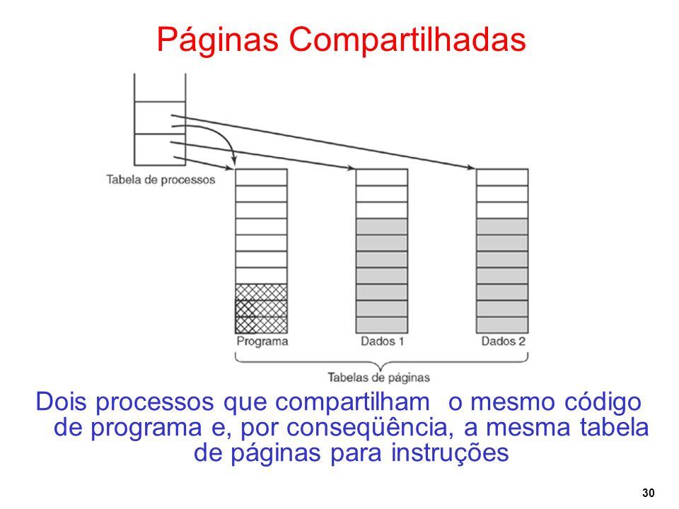 30 Páginas Compartilhadas Dois processos que compartilham o mesmo código de programa e, por conseqüência, a mesma tabela de páginas para instruções