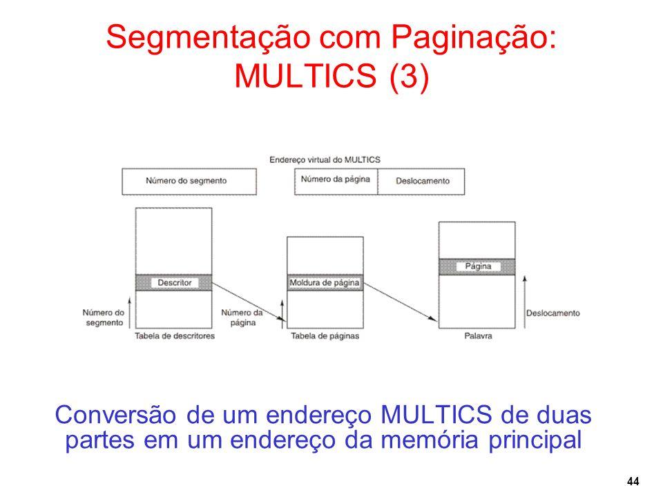 44 Conversão de um endereço MULTICS de duas partes em um endereço da memória principal Segmentação com Paginação: MULTICS (3)