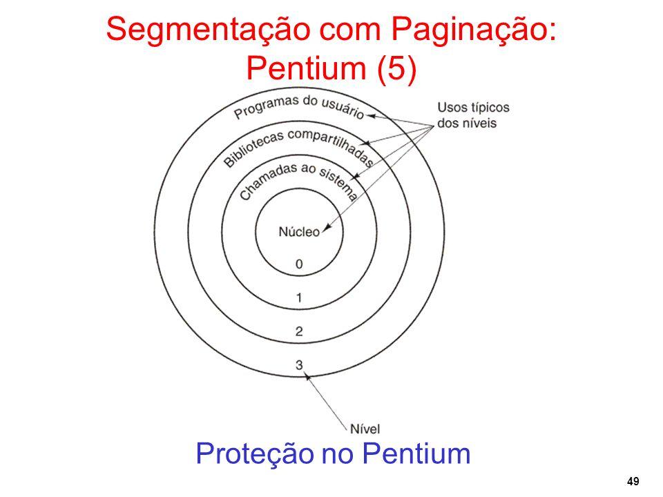 49 Segmentação com Paginação: Pentium (5) Proteção no Pentium