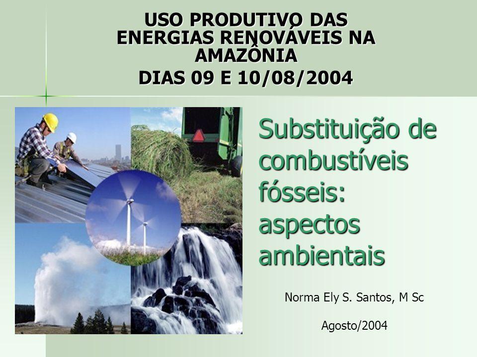 Substituição de combustíveis fósseis: aspectos ambientais USO PRODUTIVO DAS ENERGIAS RENOVÁVEIS NA AMAZÔNIA DIAS 09 E 10/08/2004 Norma Ely S. Santos,