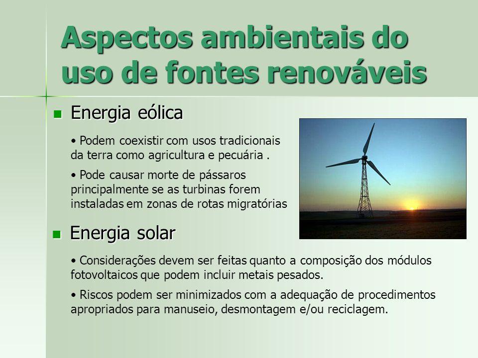Aspectos ambientais do uso de fontes renováveis Energia eólica Energia eólica Podem coexistir com usos tradicionais da terra como agricultura e pecuár