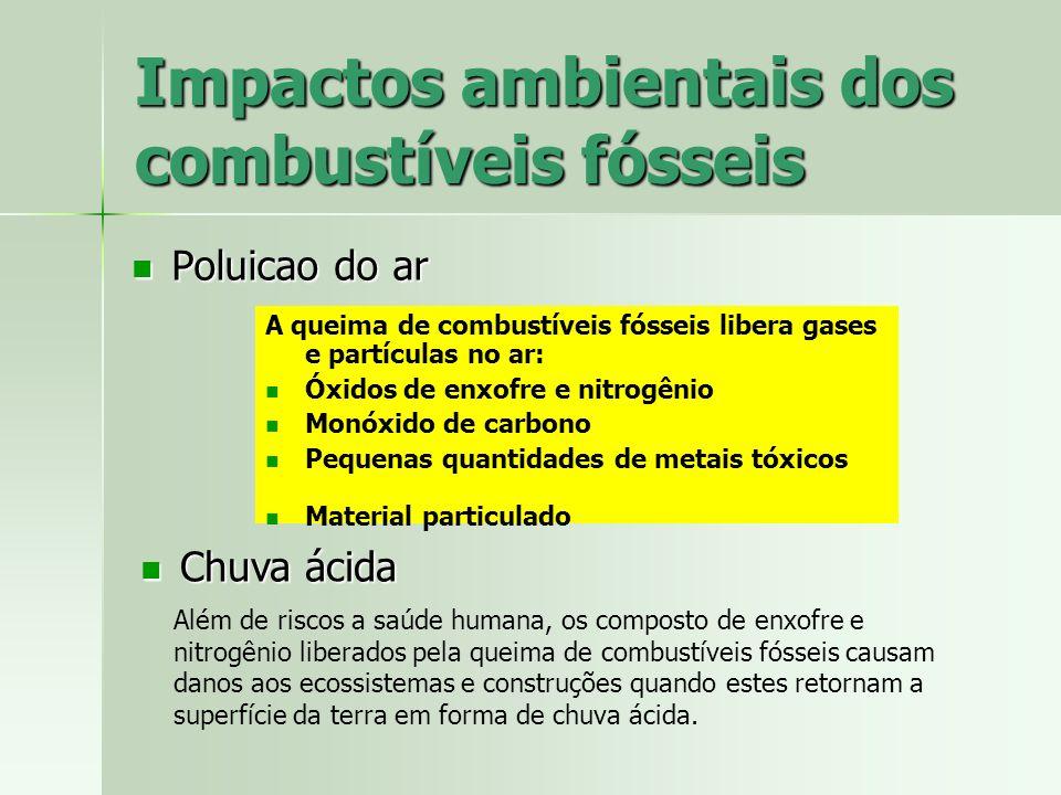 Impactos ambientais dos combustíveis fósseis Poluicao do ar Poluicao do ar A queima de combustíveis fósseis libera gases e partículas no ar: Óxidos de
