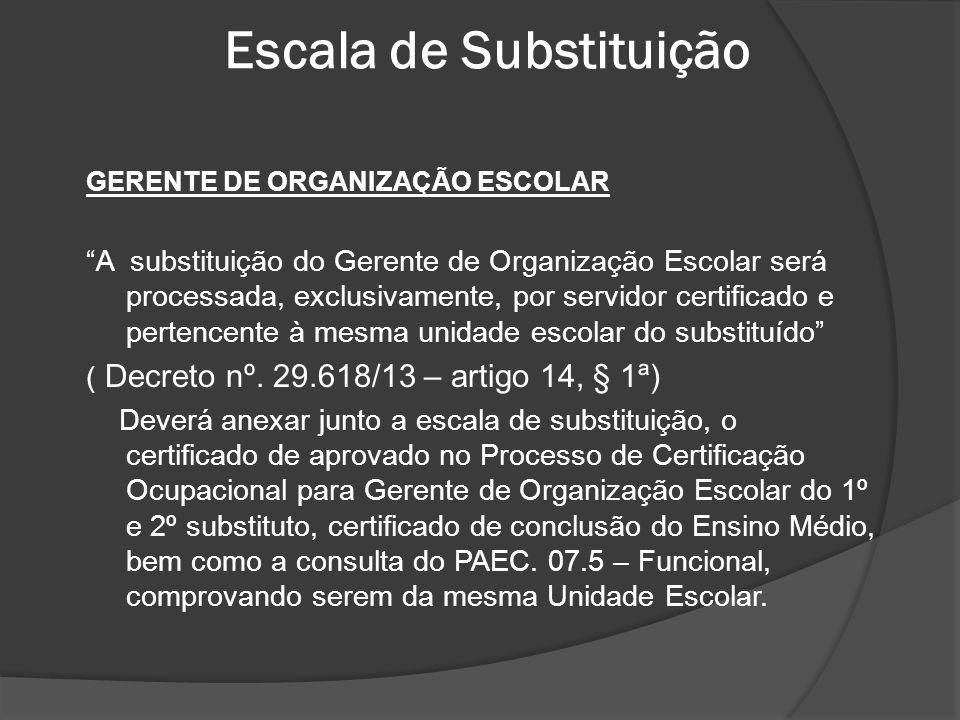 Escala de Substituição GERENTE DE ORGANIZAÇÃO ESCOLAR A substituição do Gerente de Organização Escolar será processada, exclusivamente, por servidor c