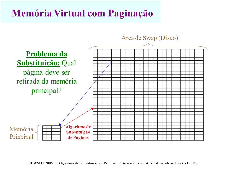 Conclusão Algoritmo 3P  Alternativa simples e viável  Muito eficiente quando acessos seqüenciais predominam  Picos negativos aceitáveis  Custo de implementação extremamente baixo Trabalhos futuros - Implementação prática do algoritmo em um sistema operacional - Adaptação para outros tipos de memória cache Agradecimentos  Scott Kaplan e Yannis Smaragdakis  Song Jiang II WSO / 2005 – Algoritmo de Substituição de Páginas 3P: Acrescentando Adaptatividade ao Clock - EPUSP
