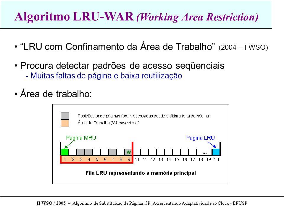 Algoritmo LRU-WAR (Working Area Restriction) LRU com Confinamento da Área de Trabalho (2004 – I WSO) Procura detectar padrões de acesso seqüenciais - Muitas faltas de página e baixa reutilização Área de trabalho: II WSO / 2005 – Algoritmo de Substituição de Páginas 3P: Acrescentando Adaptatividade ao Clock - EPUSP