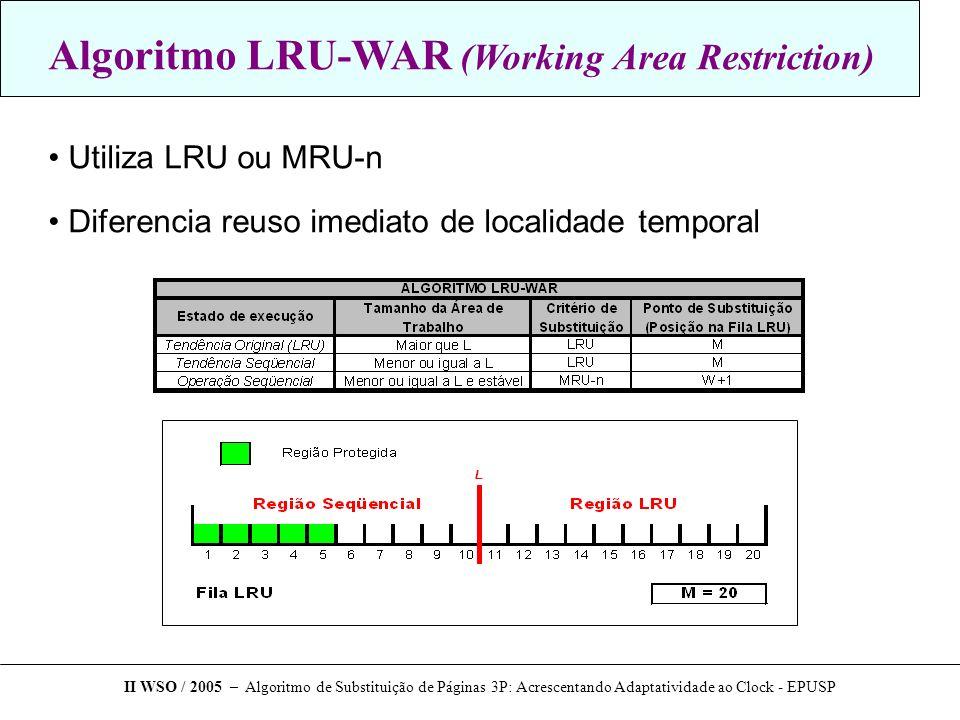 Algoritmo LRU-WAR (Working Area Restriction) Utiliza LRU ou MRU-n Diferencia reuso imediato de localidade temporal II WSO / 2005 – Algoritmo de Substituição de Páginas 3P: Acrescentando Adaptatividade ao Clock - EPUSP
