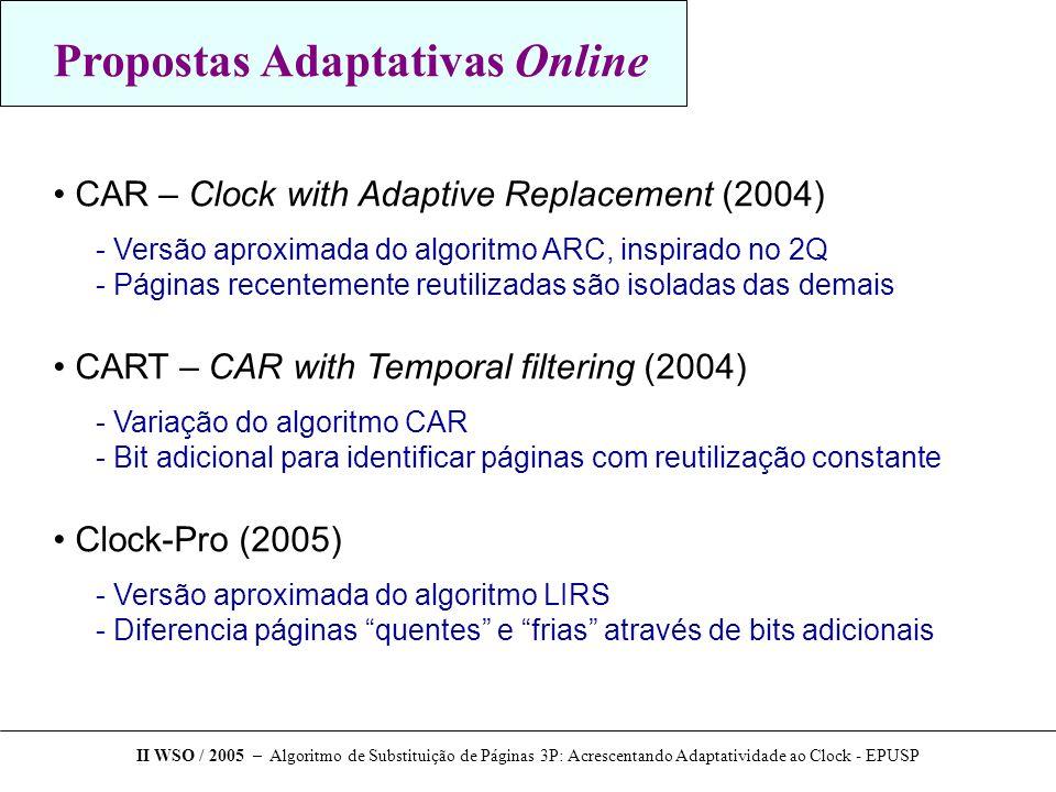 Algoritmo 3P 3 Ponteiros – 3 Pointers Inspirado nos algoritmos Clock (implementação) e LRU-WAR (detecção de acessos seqüenciais) II WSO / 2005 – Algoritmo de Substituição de Páginas 3P: Acrescentando Adaptatividade ao Clock - EPUSP