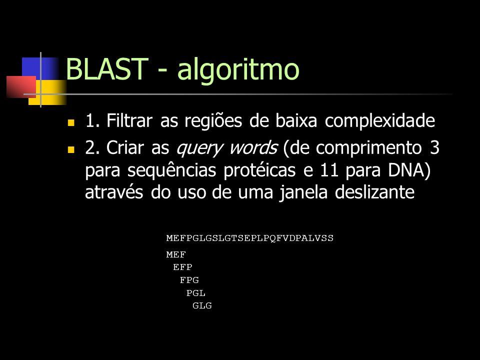 BLAST - algoritmo 1. Filtrar as regiões de baixa complexidade 2. Criar as query words (de comprimento 3 para sequências protéicas e 11 para DNA) atrav