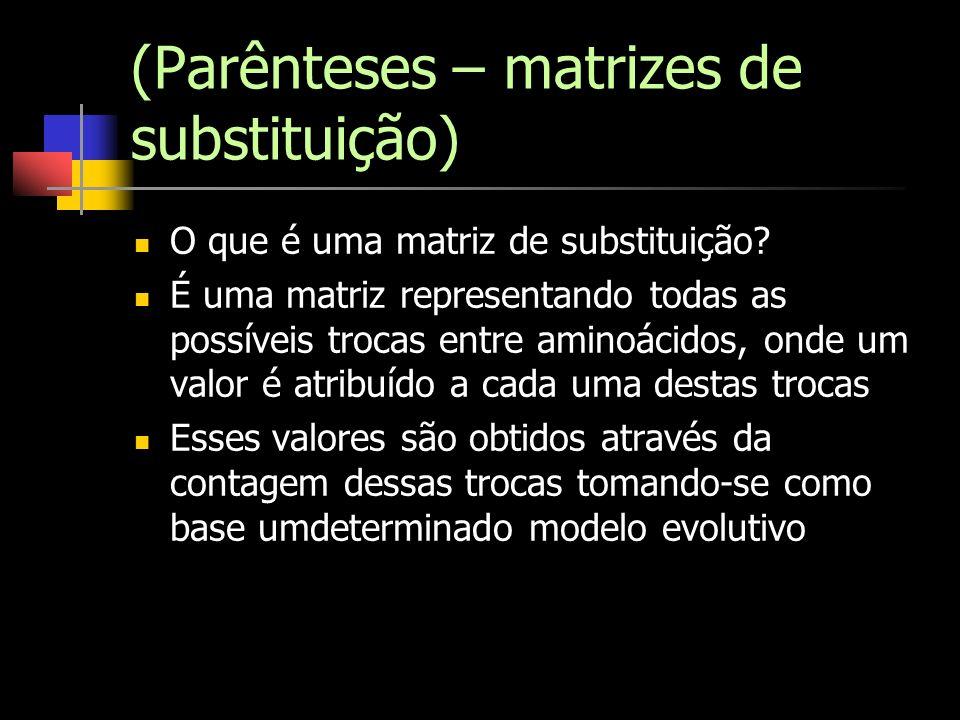 (Parênteses – matrizes de substituição) O que é uma matriz de substituição? É uma matriz representando todas as possíveis trocas entre aminoácidos, on