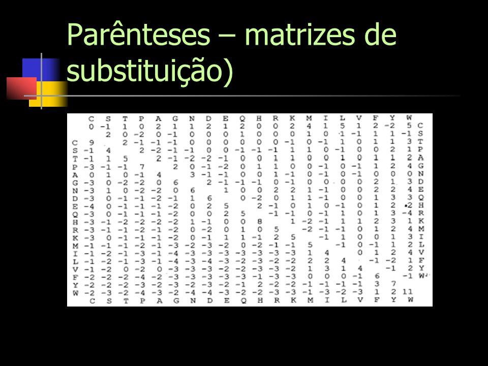 Parênteses – matrizes de substituição)