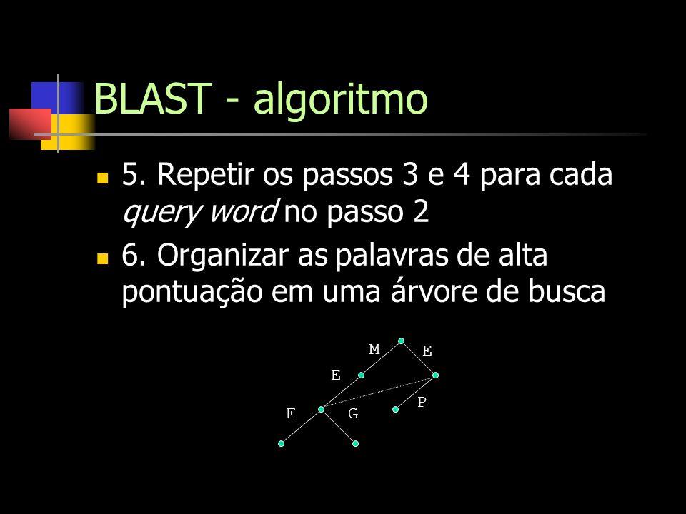 BLAST - algoritmo 5. Repetir os passos 3 e 4 para cada query word no passo 2 6. Organizar as palavras de alta pontuação em uma árvore de busca M E F E