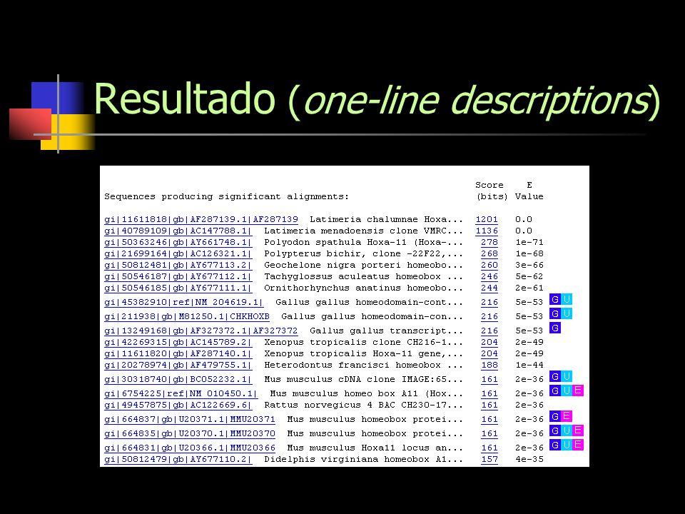 Resultado (one-line descriptions)