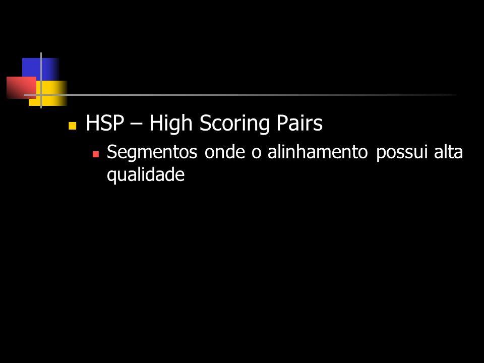 HSP – High Scoring Pairs Segmentos onde o alinhamento possui alta qualidade
