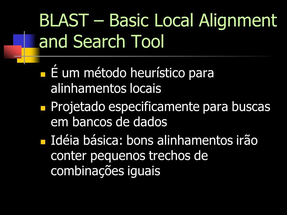 BLAST – Basic Local Alignment and Search Tool É um método heurístico para alinhamentos locais Projetado especificamente para buscas em bancos de dados