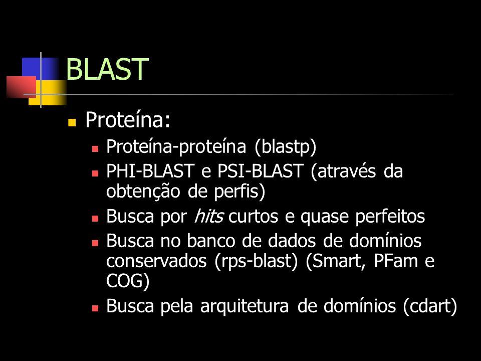 BLAST Proteína: Proteína-proteína (blastp) PHI-BLAST e PSI-BLAST (através da obtenção de perfis) Busca por hits curtos e quase perfeitos Busca no banc