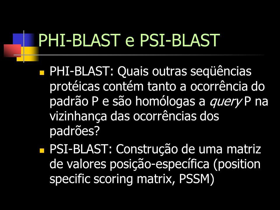 PHI-BLAST e PSI-BLAST PHI-BLAST: Quais outras seqüências protéicas contém tanto a ocorrência do padrão P e são homólogas a query P na vizinhança das o