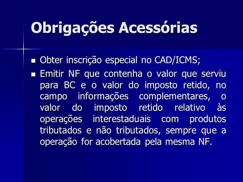 Obrigações Acessórias Obter inscrição especial no CAD/ICMS; Obter inscrição especial no CAD/ICMS; Emitir NF que contenha o valor que serviu para BC e