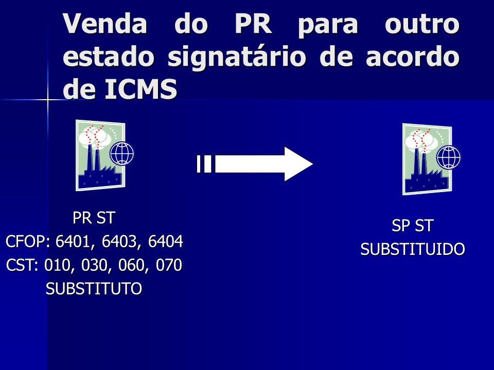 Venda do PR para outro estado signatário de acordo de ICMS PR ST CFOP: 6401, 6403, 6404 CST: 010, 030, 060, 070 SUBSTITUTO SP ST SUBSTITUIDO