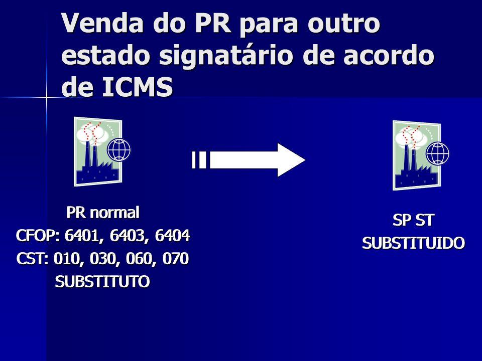 Venda do PR para outro estado signatário de acordo de ICMS PR normal CFOP: 6401, 6403, 6404 CST: 010, 030, 060, 070 SUBSTITUTO SP ST SUBSTITUIDO PR no