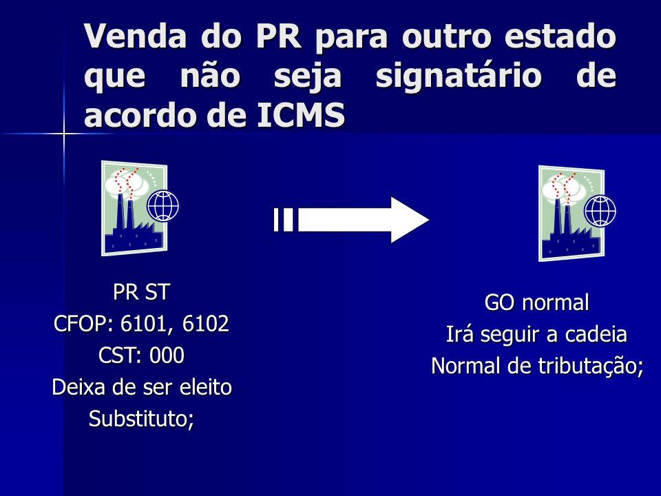Venda do PR para outro estado que não seja signatário de acordo de ICMS PR ST CFOP: 6101, 6102 CST: 000 Deixa de ser eleito Substituto; GO normal Irá