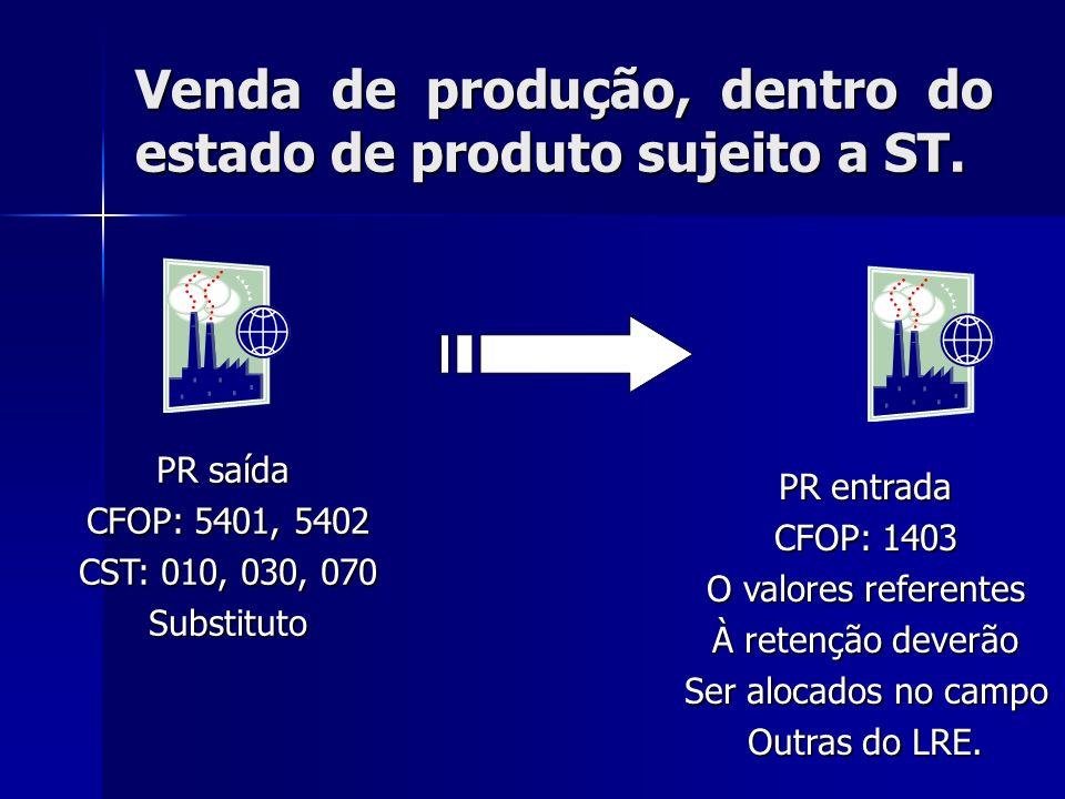 Venda de produção, dentro do estado de produto sujeito a ST. PR saída CFOP: 5401, 5402 CST: 010, 030, 070 Substituto PR entrada CFOP: 1403 O valores r