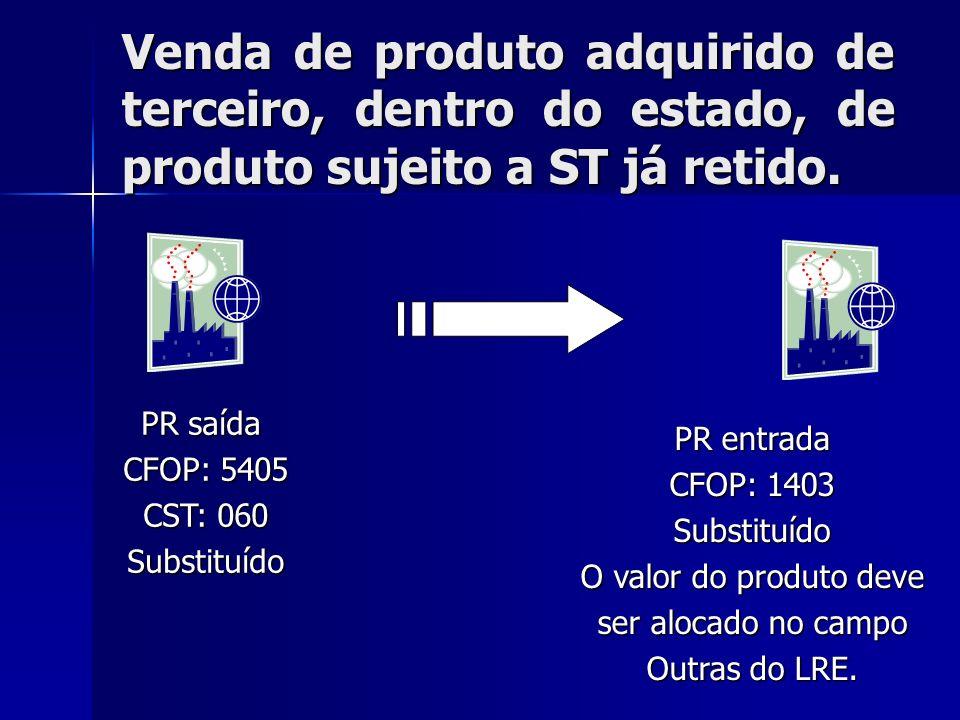 Venda de produto adquirido de terceiro, dentro do estado, de produto sujeito a ST já retido. PR saída CFOP: 5405 CST: 060 Substituído PR entrada CFOP:
