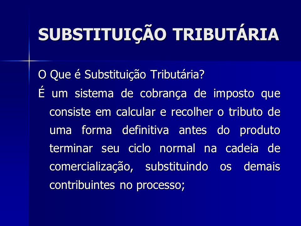 SUBSTITUIÇÃO TRIBUTÁRIA O Que é Substituição Tributária? É um sistema de cobrança de imposto que consiste em calcular e recolher o tributo de uma form