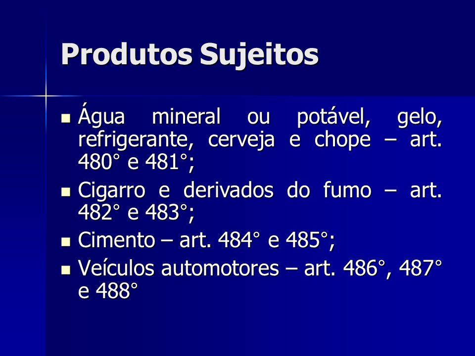 Produtos Sujeitos Água mineral ou potável, gelo, refrigerante, cerveja e chope – art. 480° e 481°; Água mineral ou potável, gelo, refrigerante, cervej