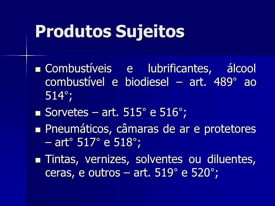 Produtos Sujeitos Combustíveis e lubrificantes, álcool combustível e biodiesel – art. 489° ao 514°; Combustíveis e lubrificantes, álcool combustível e