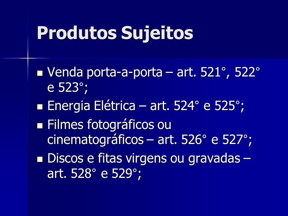 Produtos Sujeitos Venda porta-a-porta – art. 521°, 522° e 523°; Venda porta-a-porta – art. 521°, 522° e 523°; Energia Elétrica – art. 524° e 525°; Ene