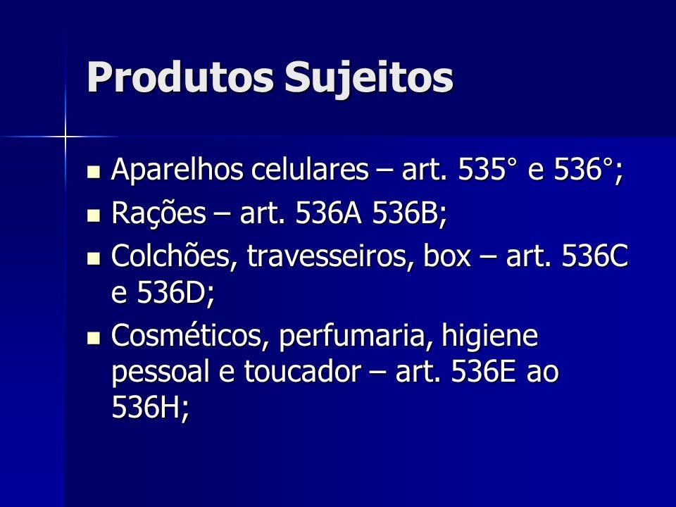 Produtos Sujeitos Aparelhos celulares – art. 535° e 536°; Aparelhos celulares – art. 535° e 536°; Rações – art. 536A 536B; Rações – art. 536A 536B; Co