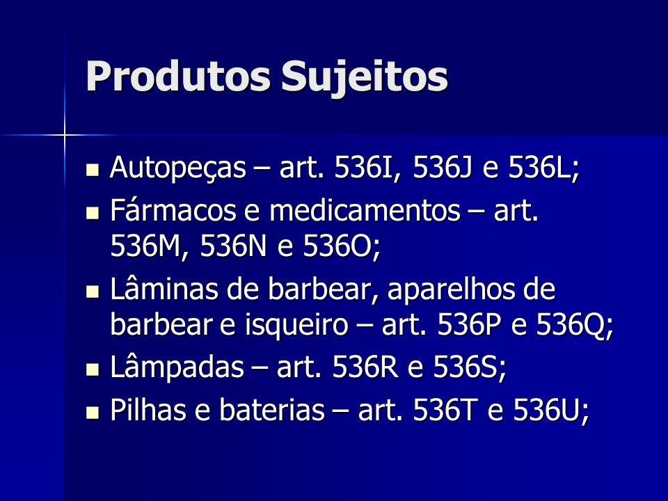 Produtos Sujeitos Autopeças – art. 536I, 536J e 536L; Autopeças – art. 536I, 536J e 536L; Fármacos e medicamentos – art. 536M, 536N e 536O; Fármacos e